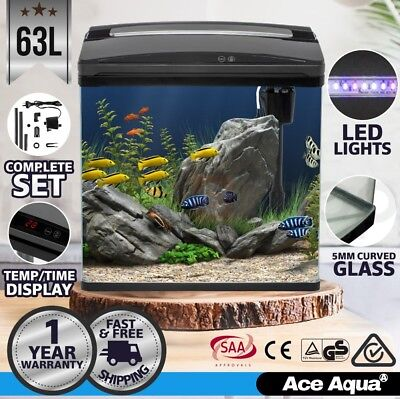 New 75L Aquarium Fish Tank Curved Glass Complete Set Filter Pump LED Light Black