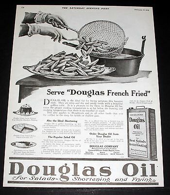 1919 Old Magazine Print Ad, Douglas Cooking Oil, Serve Douglas French Fried!