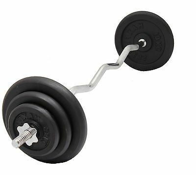 "Weight Lifting Set EZ Curl Bar + Cast Iron weight Plates Standard 1"" Barbell"