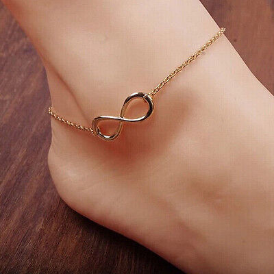 1PC Body Chain Gold Silver Infinity Lucky Eight Bracelet Anklet Jewellry Gift