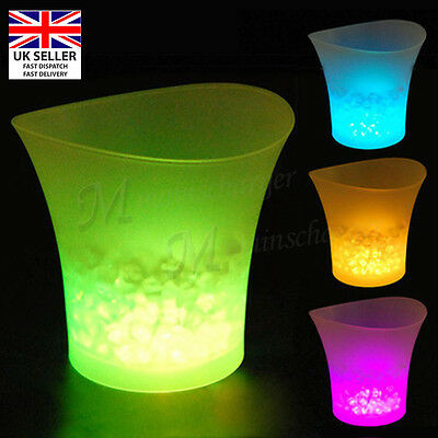 LED Ice Bucket Light Up Champagne Wine Drinks Glowing Cooler Retro Party Bar UK