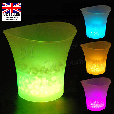 Light Up LED Ice Bucket Champagne Wine Drinks Glowing Cooler Retro Party Bar UK