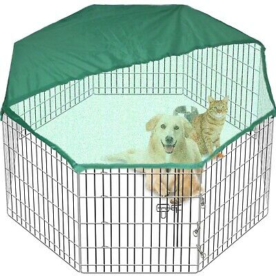 8 Side 91cm Tall Pet Play Pen Dog Cage Folding Run Metal Crate In/Out FREE Cover