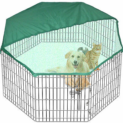 Pet Pen Dog Cage Crate Animal 8 Sided 61 cm Tall Folding Metal In/Out FREE Cover