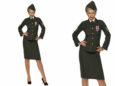 Ladies Wartime Officer 1940's Costume WW2 Army Uniform Fancy Dress Outfit