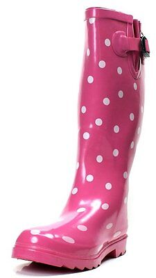 woman's Rain Boots -MST-363A: Ladies rain boot Pink Polka Dot
