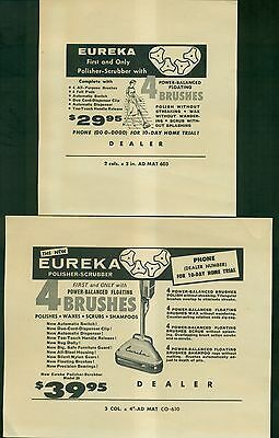 1961 Eureka Polisher-Scrubber Dealer Printer's Proof Ads - Eureka Williams Corp.