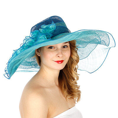 Kentucky Derby Sinamay Two-Tone Multi-Layer Wide Brim Hat N25 Blue Turquoise