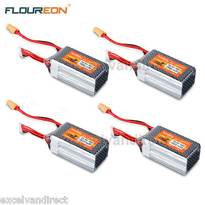 4pcs 4S 45C 14.8V 1500mAh LiPo Battery XT60 for RC Helicopter Airplane Car Hobby