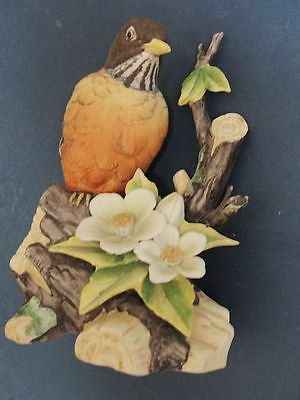 "LEFTON CERAMIC ROBIN FIGURINE  KW2308  appx 6 1/4"" h x 5""w BRANCH WITH FLOWERS"