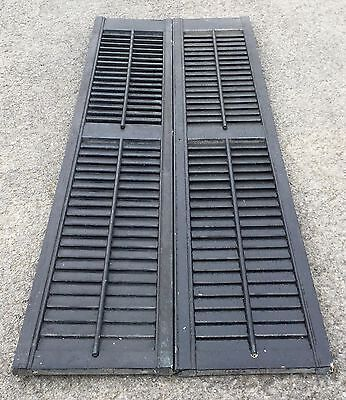 Old Vtg Antique Black Chippy Paint Architectural Louvered Storm Shutter Lot Of 2