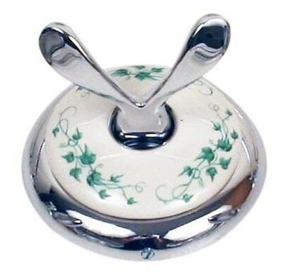 Moen Boutique Chrome w/ White Ceramic Green Ivy Double Robe Hook #4703IVY