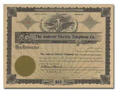 Andover Electric Telephone Company Stock Certificate