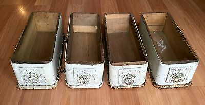 Old Vtg Antique Domestic Cast Iron Drawer Guide Frame Drawer Pull Lot Of 4