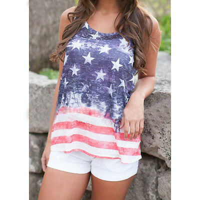 Popular Sleeveless Shirt Stars And Stripes USA Flag Pattern Vest Tank Top