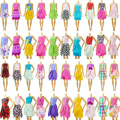Fashion 12pcs Summer Mini Dress Daily Outfit Random Clothes For Barbie Doll Gift