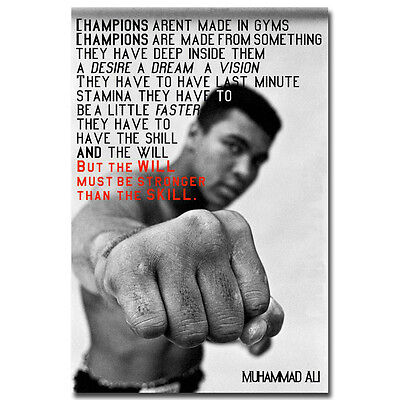 Muhammad Ali Motivational Quote Boxing Art Silk Poster 13x20 24x36 inches