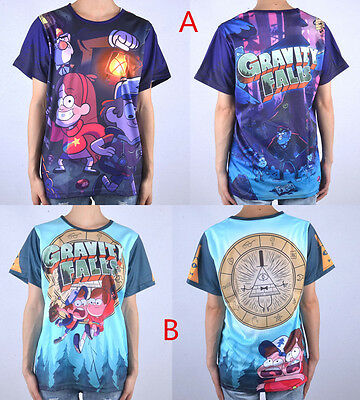 Disney Gravity Falls Dipper Mabel Pines & Bill Cipher Full Color T-shirt 2Style