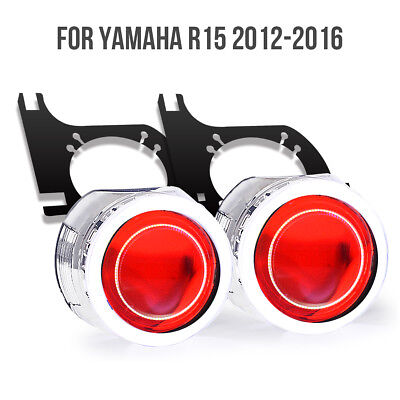 Tailor-Made Fit Yamaha  YZF R15  LED Angel Eye HID Projector Demon Eyes 35W Red