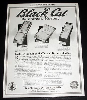 1918 Old Magazine Print Ad, Black Cat Reinforced Hosiery, Look For The Cat!