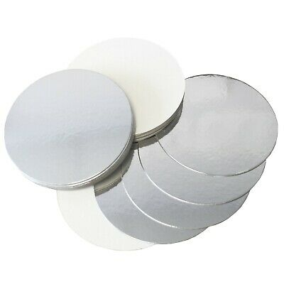 "Reversible Silver & White Round Cake Boards - 1.5mm Cards - 6"" 8"" 10"" 12"" Inch"