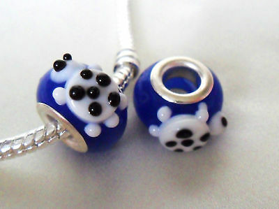 Delightful Handmade Lampwork Blue Glass Turtle Bead good for Party Bags