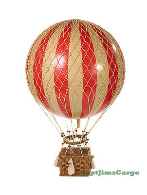 """XL Hot Air Balloon Red & White Striped 17"""" Hanging Aviation Decor"""