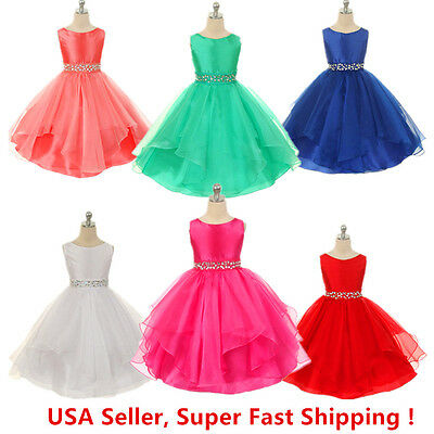 Wedding Flower Girls Crystals Waist Taffeta Pageant Dress