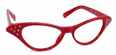 Hip Hop 50s Red Adult Cateye Glasses Poodle Skirt Halloween Costume Accessory
