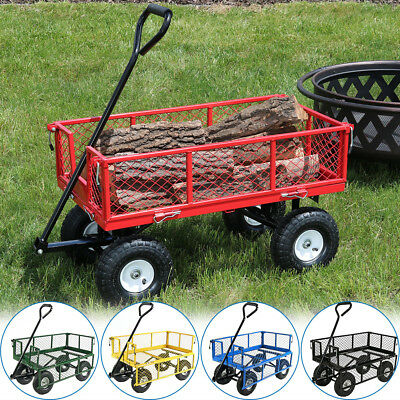 Heavy-Duty Steel Log Cart, 400 Pound Weight Capacity, Pneumatic - Choose Color