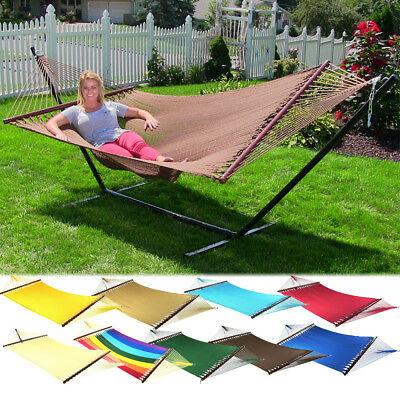 Sunnydaze 2-Person Soft Rope Hammock w/Spreader Bar & Stand - Choose Options