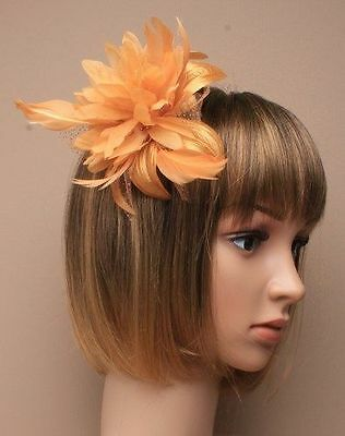 LADIES gold fascinator feather races wedding comb hair hatinator
