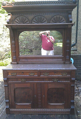 Antique 1880  Walnut Wood Pink Marble Buffet Sideboard Furniture