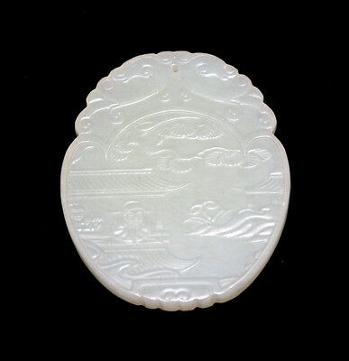 Vintage Large Carved Chinese Inscribed White Jade Hanging Oval Plaque Pendant