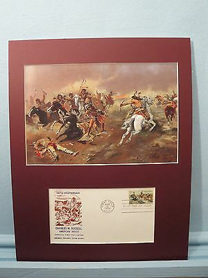 "Western Artist Charles M. Russell   - ""Fight for Supremacy"" & First Day Cover"