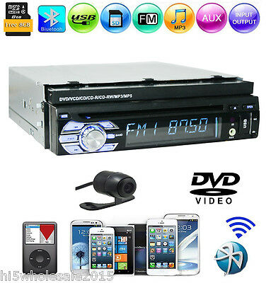 1 Din Car Stereo GPS Retractable Touchscreen Radio CD DVD Player USB/SD FREE CAM
