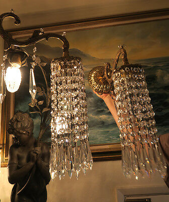 2 Vintage Sconces French Brass bronze fountain waterfall Crystal lamp Dining Rm.