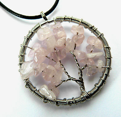 *beautiful Rose Quartz Tree Of Life Pendant With Waxed Cord Necklace*