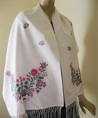 Hand embroidered Hungarian shawl ethnic embroidered Matyo Kalocsa  WHITE scarf