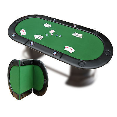 Large Folding Poker Table 10 Players Holdem Card Game Adults Party Casino Top