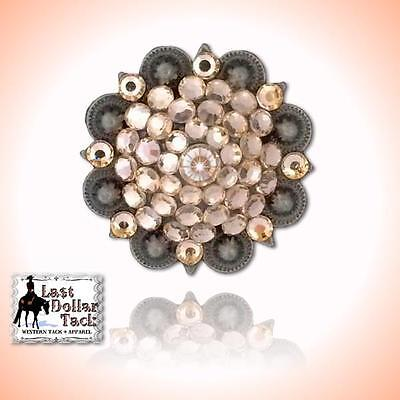 "Peach Crystal Berry Concho Replacement For Western Headstall Or Project 1"" - Pk2"