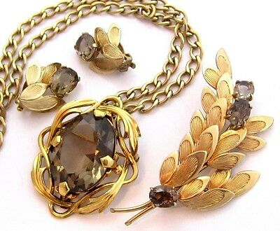 EXQUISITE WINARD GOLD FILLED NECKLACE EARRINGS PIN VINTAGE JEWELRY SET*40g*D265