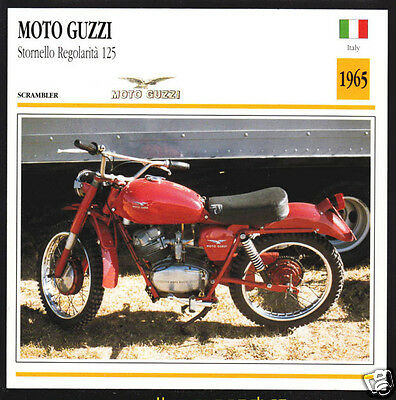 1965 Moto Guzzi Stornella Regolarita 125cc Motorcycle Photo Spec Sheet Info Card