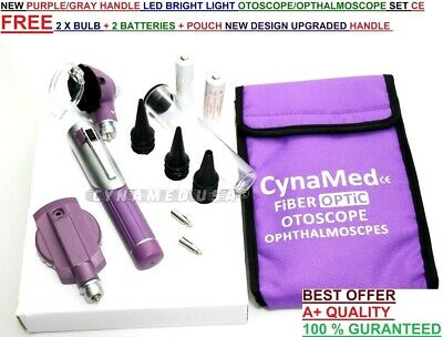 FIBER OPTIC Otoscope Ophthalmoscope  Examination LED Diagnostic ENT SET Kit-Purp