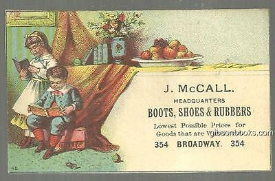 Victorian Trade Card for J. Mccall Boots with Children Reading