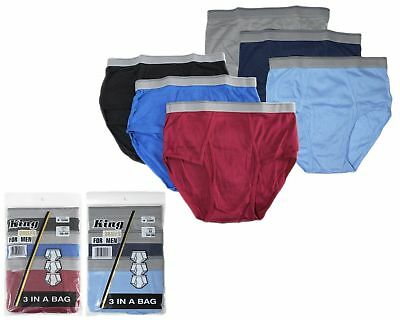 12 pks Mens Classic Briefs Cotton Blend Whites Colors King Lots Underwear