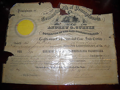 Civil War 5th Penn. Cavalry  Officer Promotion Signed By Gov. Andrew Curtin 1865