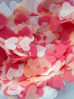 1200 Biodegradable Tissue Paper Heart Confetti CORAL PEACH IVORY Wedding