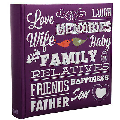Purple Memo Slip In 10 x 15 cm For 200 Photos Family Friends Photo Album-PF200PE