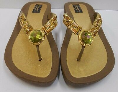 e312cd4beb638 GRANDCO SANDALS Dressy Beach THONG BLING Taupe w Gold   Amber GEMSTONES  Jeweled